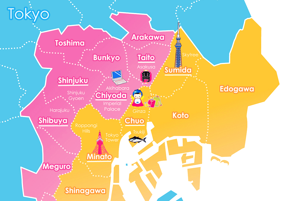 tokyo districts in map